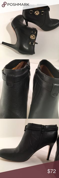 Coach salene bootie black ankle boots heels Padded footbed inside zip rounded toe. Very light normal wear. Heels are flawless No indentations. Inside footbed  has a tic tac size peel from sticker removal. Coach Shoes Ankle Boots & Booties