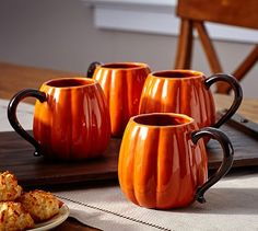 Pumpkin Mug, Set of 4 #potterybarn-always thinking of my favorite season:)