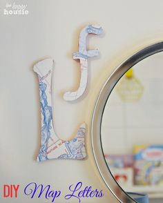 DIY Map Letters for Our Boys' Room {mini} Gallery Wall - The Happy Housie