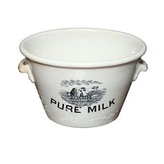 PURE MILK PAIL WITH COWS GRAZING Milk Pail, Vinyl Decals, Stoneware, Old Things, Pottery, Pure Products, Antiques, Projects, Minimalist