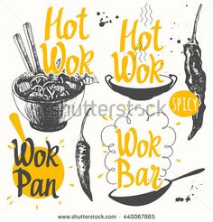 Vector illustration with products. Sketch set with wok pan and peppers. Funny labels with street food symbols.