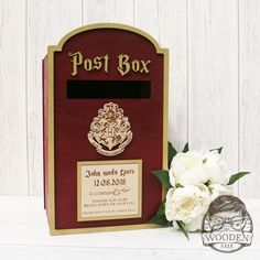 Looking for a place for your visitors to leave their cards and warm wishes on your special day? Look no further than our personalised post box. Our wedding post box is a great way to collect your c… Potter Box, Harry Potter Day, Harry Potter Cards, Harry Potter Engagement, Harry Potter Wedding, Batman Wedding, Star Wars Wedding, Geek Wedding, Fall Wedding