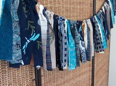 Fabric Garland, Japanese Fabric Assortment, Turquoise Accented Traditional Blue and White. Kimono, Yukata, Tenugui, Indigo and Vintage.