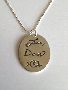 Memorial Jewelry - Large Size Oval With Chain - Memorial Jewelry Your Actual Loved Ones Writing Silver Necklace - Made to order
