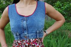 Denim Dress: The upper portion of dress is made from used denim while the stretch jersey skirt is made into the lower part of dress.