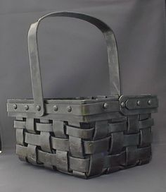 Hand-forged woven basket by DC Metal Design