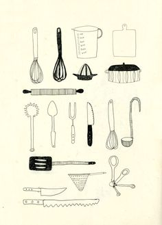 57 Ideas Kitchen Utensils Drawing Tools For 2019 Carta Restaurant, Illustration Tattoo, Sketch Note, Kitchen Art, Kitchen Drawing, Kitchen Tools, Kitchen Stuff, Drawing Tools, Sketching