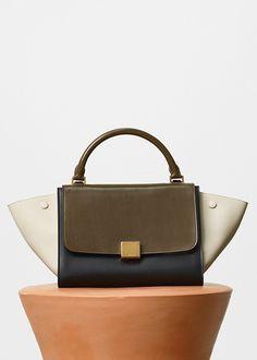 2203b5392b31 Small Trapeze Handbag in Multicolour Sleek Calfskin - セリーヌについて セリーヌ バッグ, レザー バッグ,