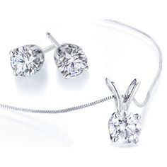 Diamond Solitaire Necklace & Diamond Stud Earrings Set 1/2 Carat (ctw)... (2.655 HRK) ❤ liked on Polyvore featuring jewelry, earrings, necklaces, white gold earrings, 14 karat gold stud earrings, 14 karat white gold earrings, 14k diamond earrings and stud earrings
