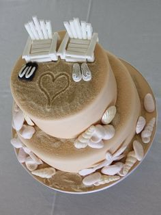 Beach Themed Wedding Cakes @Melissa Squires Brown Fields