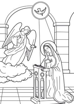 Coloring picture of the Annunciation of the Angel to Virgin Mary - Courtesy of Nativity Coloring Pages, Angel Coloring Pages, Monster Coloring Pages, Cartoon Coloring Pages, Coloring Books, Angel Silhouette, Sunday School Coloring Pages, Kindergarten Colors, Bible Drawing