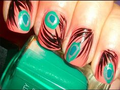 love the peacock nails Fabulous Nails, Gorgeous Nails, Love Nails, How To Do Nails, Fun Nails, Pretty Nails, Peacock Nails, Feather Nails, Pink Peacock