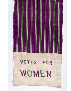 """omgthatdress: """"Suffragette Scarf 1910 The Victoria & Albert Museum """" Suffragette Jewellery, Suffragette Colours, Emmeline Pankhurst, Suffrage Movement, Victoria And Albert Museum, Edwardian Era, Women In History, Ladies Day, Fashion History"""