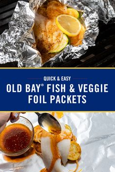 OLD BAY Fish & Veggie Foil Packets Steam your fish and veggies to perfection with these easy OLD BAY Fish & Veggie Foil Packets. An easy way to serve up complete meal right off the grill. Fish Recipes, Seafood Recipes, Dinner Recipes, Cooking Recipes, Healthy Recipes, Recipies, Easy Summer Meals, Summer Recipes, Easy Meals