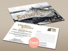 Képeslap formájú, retro meghívó | Postcard and retro style card