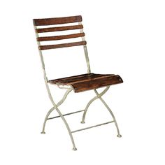 Distressed Slatted Wood and Metal frame Folding Garden Chair