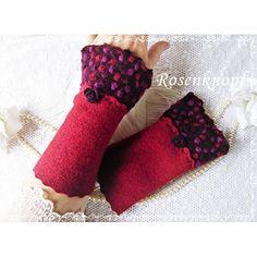 Weiche Walkstulpen aus hochwertigem Strickwalk in dunklem Rot mit angesetzten Walk in Bordeaux mit Dots und Walkröschen♥
