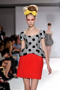 Luella Bartley--while this exact ensemble would not be all-that-wearable for me, I love the ladylike-chic-with-an-edge feel to it. Luella Bartley, Frida Gustavsson, American Diner, Runway Fashion, Womens Fashion, Marchesa, Playing Dress Up, Peplum Dress, Pure Products