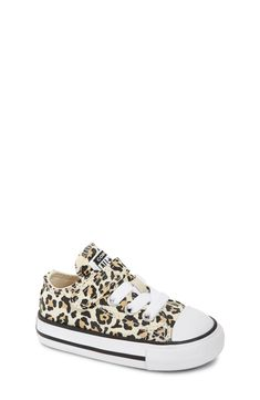 Toddler Girl's Converse Chuck Taylor All Star Leopard Spot Low Top Sneaker, Size 7 M - Black Toddler Converse Girl, Baby Converse Shoes, Little Girl Shoes, Baby Girl Shoes, Girls Shoes, Native Shoes, Walker Shoes, Star Shoes, Converse Chuck Taylor All Star
