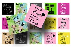 These one day at a time 1 inch squares make great magnets, pendants, or key chains. This digital download would make great a great fund raising item.
