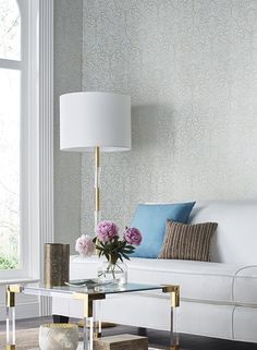 Sheen, shimmer, sparkle and shine invigorate beautiful, classic patterns like PARADISE, detailed in a new technique we call liquid molten metal- simply stunning!  By Candice Olson for York Wallcoverings
