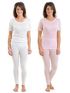 Introducing 2COZEE Set Of 2 Womens Thermal Underwear Short Sleeve Vest  Pants Set 1820. Great product and follow us for more updates!