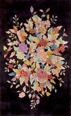 "#304 Chinese Art Deco carpet    3'0"" x 4'9""    circa 1920"