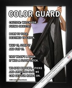 "Color Guard Flag Poster Print features a flag girl and funny sayings. ""Caution…"