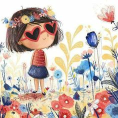 30 New Ideas For Flowers Girl Illustration Watercolour Art And Illustration, Character Illustration, Illustrator, Plant Sketches, Plant Drawing, Drawing Drawing, Whimsical Art, Art Plastique, Cute Drawings