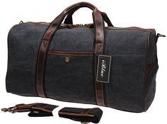 Iblue Canvas Weekender Duffel Tote Leather Trim Travel Luggage Sports Gym Bag 21in #i521 (XL, grey)