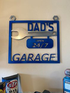 Excited to share this item from my shop: Dad's Garage Wall Decor Custom Radio Flyer Wagon, Radio Flyer Wagons, Automotive Shops, Cnc Plasma Cutter, Scrap Material, Garage Signs, Garage Walls, Wine Bottle Holders, Shop Signs
