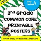 Second Grade Common Core Posters Full Page - ELA ONLY - Save a ton of time by buying our second grade FULL PAGE SIZE pre-made common core posters. ...