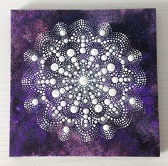 White mandala in purple space Dotart Mandala Painting on Canvas 20x20 cm (2016)…