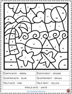 Music lessons  |   music education     |   MUSIC WORKSHEETS: COLOR by MUSIC NOTES and RESTS   |  music theory |   #musiceducation   #musiced