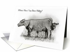 I Miss You: Where Have You Been Hiding? Calf Peeks Behind Cow: Original Pencil Art: card
