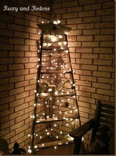 Ladder Christmas tree looks beautiful with the exposed brick!