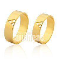 Alianças de Noivado e Casamento em Ouro Amarelo 18k 0,750 - FA-1007