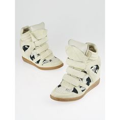 Pre-owned Isabel Marant Beige Suede and Hawaiian Canvas Bekett Sneaker... ($130) ❤ liked on Polyvore featuring shoes, sneakers, hidden wedge sneakers, velcro wedge sneakers, velcro sneakers, suede shoes and canvas wedge sneakers