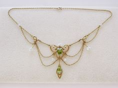 Antique 10k Gold Lavalier Pendant Necklace w/ 2 Peridot & 7 Freshwater Pearls #Unbranded #ChokerPendant