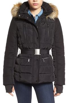 French Connection Belted Quilted Jacket with Faux Fur Trim available at #Nordstrom
