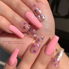 Cute Acrylic Nails 861876447425114436 - Nail Art Design 21 Stylish Fun Design – Inspired Beauty 21 fun stylish nail art design to inspire your next mani, current and evergreen design that you will want to try this year Source by Butterfly Nail Designs, Cute Acrylic Nail Designs, Coffin Nails Designs Summer, Butterfly Nail Art, Pink Nail Designs, Pink Butterfly, Flower Design Nails, Dope Nail Designs, Clear Nail Designs