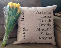 This listing is for custom case OR case WITH pillow with names of grandchildren. This is a great grandparent gift! Personalised Family Tree, Personalized Pillows, Custom Pillows, Best Gifts For Grandparents, Grandparent Gifts, White Decorative Pillows, Decorative Pillow Covers, Family Christmas Gifts, Gifts For Family