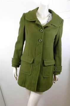 WOMEN H&M DIVIDED wool long coat peacoat size 8 Green #HMDIVIDED #Peacoat