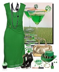 The St. Patrick's Day Martini by exxpress on Polyvore featuring Roberto Cavalli, Giuseppe Zanotti, Meredith Wendell, Yves Saint Laurent, NARS Cosmetics and country