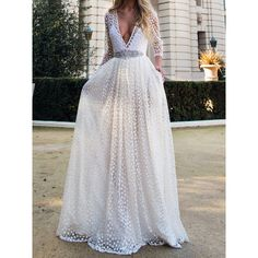 White Plunge Neck Sheer Embroidery 3/4 Sleeve Prom Dress ($43) ❤ liked on Polyvore featuring dresses, gowns, 3/4 sleeve prom dresses, white dress, embroidered dress, prom dresses and three quarter sleeve dress