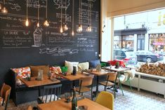 20 Ideas Restaurant Seating Ideas Chalk Board For 2019 Cafe Restaurant, Bakery Cafe, Restaurant Design, Restaurant Seating, My Coffee Shop, Coffee Shop Design, Coffee Cafe, Coffee Shops, Café Bar