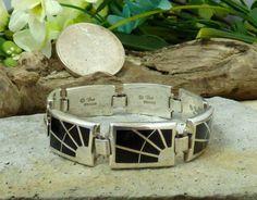 Teme Sterling Silver & Onyx Inlay 'Spider Web' Link Bracelet; Navajo Owned!! #Tem