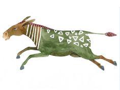 Original Watercolor Green Donkey by GeraldineToucourt on Etsy