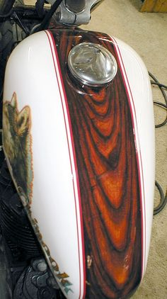This 1979 Harley Davidson Sportster Gas Tank was Hand Grained using over 20 layers of separate individual applications to achieve a brilliant Real Faux Wood Grain Look*