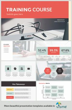 Training course presentation layout template available in Visme